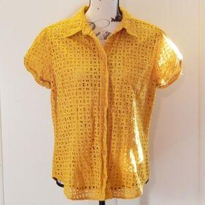 NY & Co Yellow Cap Sleeve Button-Up Blouse Sz XL
